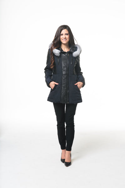 Leather And Nylon Puffer Jacket - LEONA LEEPuffer
