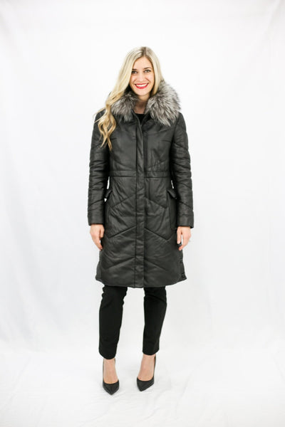 Leather Puffer Coat with Fox Trim - LEONA LEEPuffer