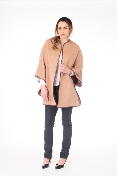 Leather Trimmed Wool & Cashmere Blended Cape - LEONA LEECape, Outerwear