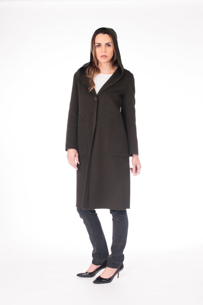 Luxury Wool Fiber Olive Green Coat - LEONA LEEDF Coat