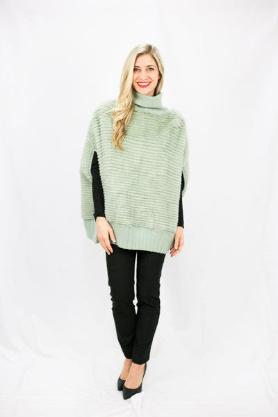 Mink & Wool Knit Poncho Reversible - LEONA LEECape, Outerwear