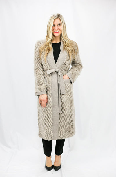 Mink & Wool Knit Reversible Coat - LEONA LEEOuterwear