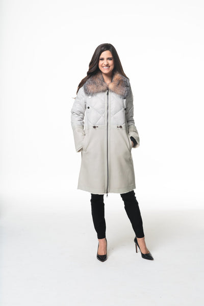 Nylon And Shearling Puffer With Fur Collar - LEONA LEEPuffer