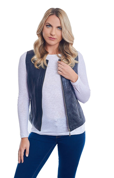 Quilted Leather Vest - LEONA LEE