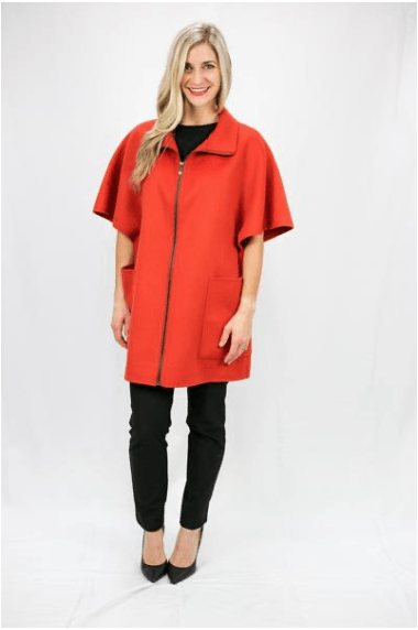 Red Clay Luxury Wool & Cashmere Poncho - LEONA LEEDF Jacket