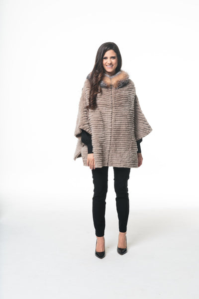 Rex Rabbit And Knit Reversible Cape With Fur Trim - LEONA LEERR Poncho