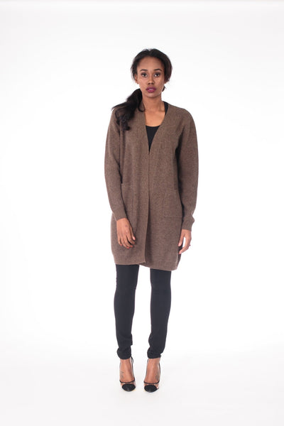 Shawl Collar Knit Cardigan with Patch Pockets - LEONA LEECardigan, Knit