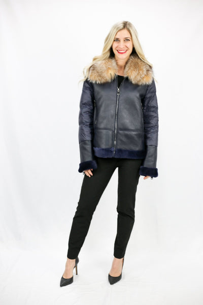 Shearling Puffer Jacket with Fox Trim - LEONA LEEPuffer