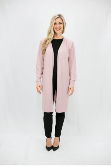 Sheer Pink Cashmere Blend Duster Cardigan - LEONA LEECardigan, Knit