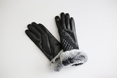 Touch Screen Friendly Black Leather Gloves with Lace and Fur Trim - LEONA LEEgloves