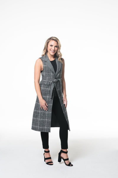 Wool Blend Vest With Waist Tie - LEONA LEEDF Vest