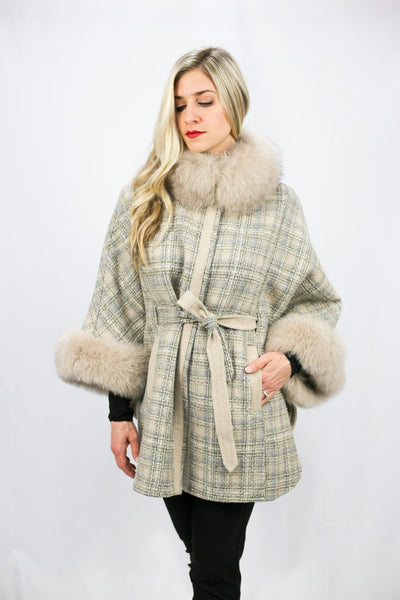 Wool Cape with Fox Trim - LEONA LEECape