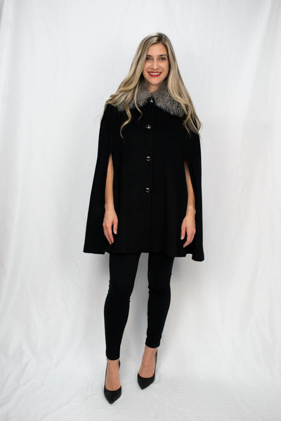 Wool & Cashmere Cape with Hidden Pockets and Fox Collar - LEONA LEECape, Outerwear
