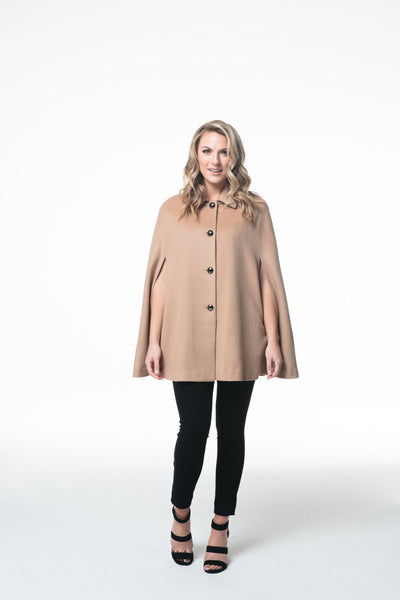Wool & Cashmere Cape with Hidden Pockets - LEONA LEEW/C Cape