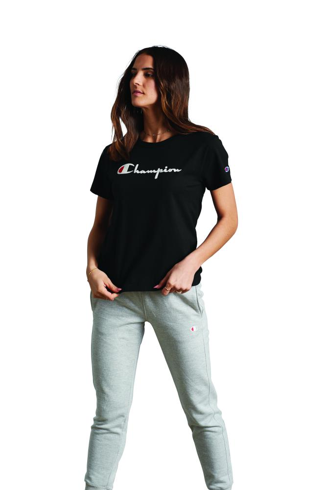 Polo para Mujer CHAMPION S/S WOMEN'S HERITAGE TEE FLOCKING SCRIP 003
