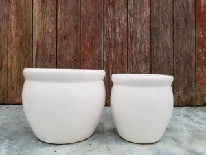 White Glazed Planter