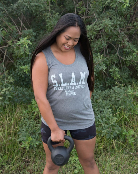 Sweat Like a Mother Iconic Logo Pastel Blue Tri-Blend Racerback Tank