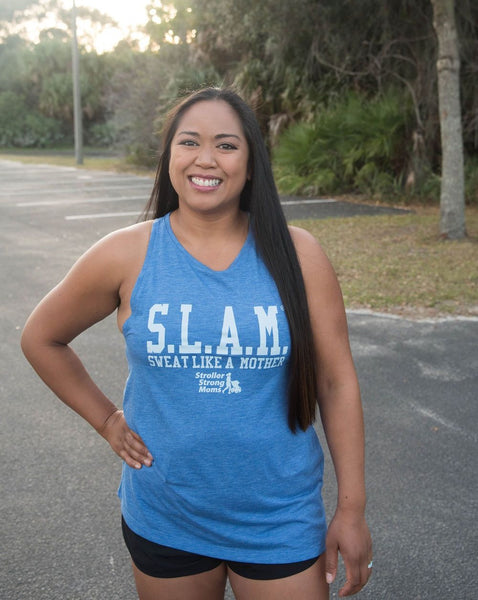 Sweat Like a Mother Iconic Logo Pastel Blue High Neck Tank