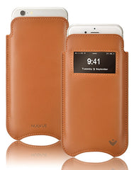 Tan Napa Leather 'Screen Cleaning' cover for Apple iPhone 6/6s sleeve case, with protective antimicrobial lining and smart window