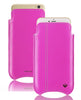 Pink Genuine Leather 'Self Cleaning Technology' iPhone 7 pouch case.
