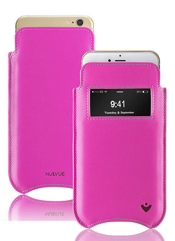 iPhone 8 / 7 Pouch Case in Pink Napa Leather | Screen Cleaning Sanitizing lining | smart window