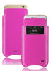 Pink Napa Leather 'Screen Cleaning' iPhone 7 pouch case with antimicrobial lining and smart window