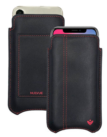 NueVue iPhone X Case Leather Black with Red iPhone Wallet Case