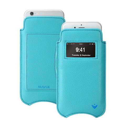 Teal Blue Vegan Leather 'Screen Cleaning' cover for Apple iPhone 6/6s pouch wallet case, with protective antimicrobial lining and smart window