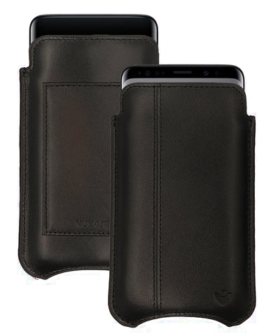 Samsung Galaxy S9 | S8 Wallet Case in Pirate Black Leather | NueVue Sanitizing and Screen Cleaning Case