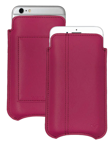 iPhone 6/6s Plus Wallet Case in Red Genuine Leather | Screen Cleaning Sanitizing Lining.