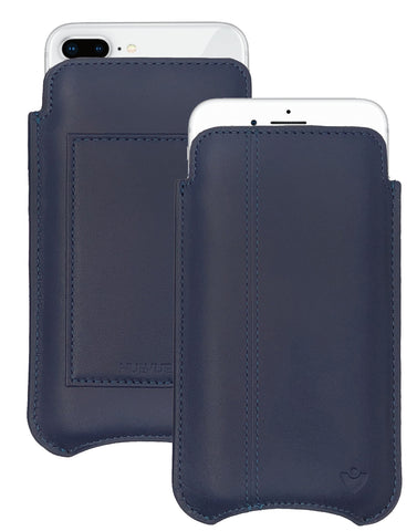 iPhone 8 Plus / 7 Plus Wallet Case in Blue Genuine Leather | Screen Cleaning Sanitizing Lining.