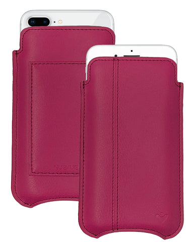 iPhone 8 Plus / 7 Plus Wallet Case in Red Genuine Leather | Screen Cleaning Sanitizing Lining.