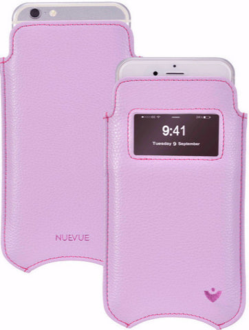 Vegan Leather 'Self Cleaning Technology' iPhone 7 Sugar Purple pouch case with window