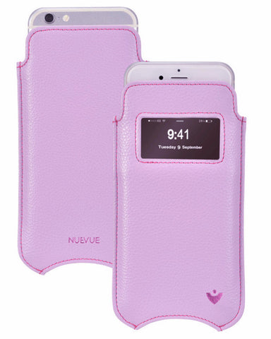 NueVue iPhone 6 case purple vegan leather self cleaning case