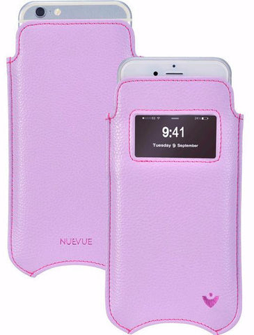 Sugar Purple Vegan Leather 'Screen Cleaning' cover for Apple iPhone 6/6s Plus sleeve case, with protective antimicrobial lining and smart window