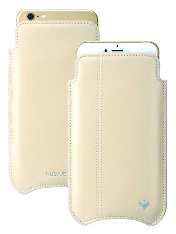 White Napa Leather cover for Apple iPhone 6/6s Plus 'Screen Cleaning' luxury sleeve cover case, with protective antimicrobial lining