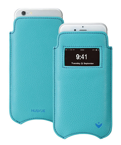Apple iPhone 6/6s Plus Case in Teal Blue Vegan Leather | Screen Cleaning Sanitizing Lining | smart window
