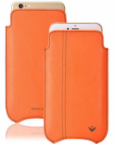 Vegan Leather 'Screen Cleaning' iPhone 7 Flame Orange pouch case, with antimicrobial lining