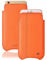 iPhone SE-2020 Case in Flame Orange Vegan Leather | Screen Cleaning Sanitizing Lining.