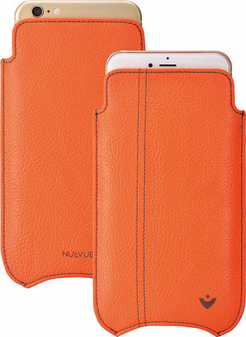 iPhone 8 Plus / 7 Plus Case | Flame Orange Vegan Faux Leather | Screen Cleaning Sanitizing Lining.