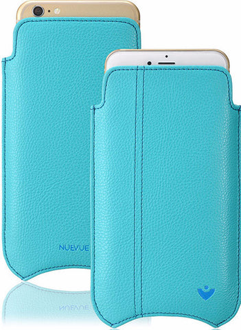 "NUEVUE -  Faux Leather Teal Blue ""Screen Cleaning"" iPhone 7 Case, Tan Antimicrobial Interior"