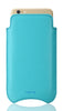 "NUEVUE -  Faux Leather Teal Blue ""Screen Cleaning"" iPhone 8 / 7 Case, Tan Antimicrobial Interior"