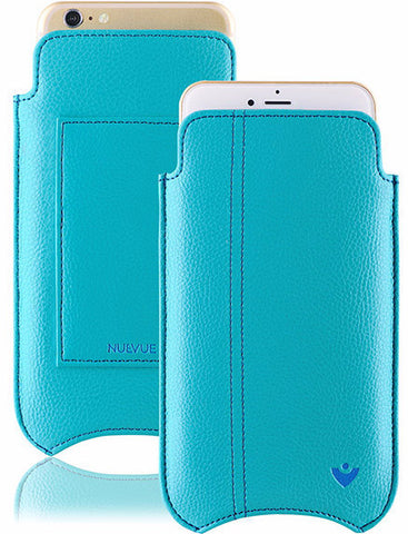 Vegan Genuine Leather 'Self Cleaning Technology' iPhone 7 Plus Teal Blue sleeve wallet case.