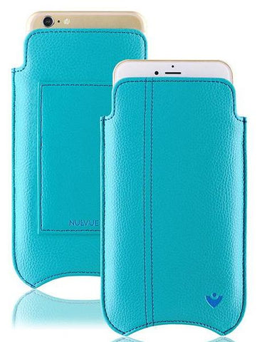 Teal Blue Vegan Leather 'Screen Cleaning' cover for Apple iPhone 6/6s Plus sleeve wallet case, with antibacterial lining