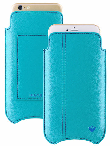 Vegan Genuine Leather 'Self Cleaning Technology' iPhone 8 Plus / 7 Plus Teal Blue sleeve wallet case.