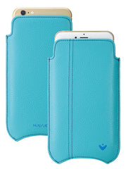 Vegan Genuine Leather 'Self Cleaning Technology' iPhone 7 Plus Teal Blue sleeve case.