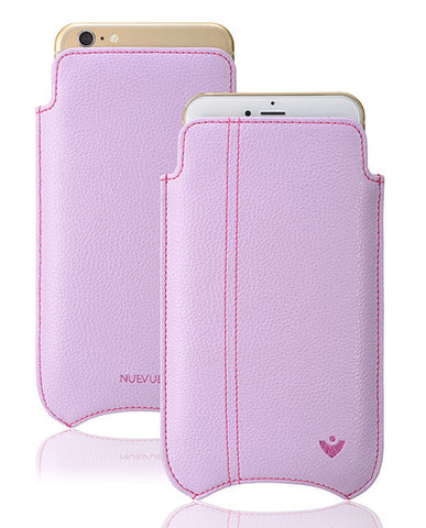 Apple iPhone 12 Pro Max Sleeve Case in Purple Vegan Leather | Screen Cleaning Sanitizing Lining