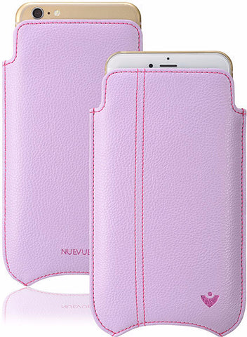 Vegan Leather 'Screen Cleaning' iPhone 7 Sugar Purple pouch case with antimicrobial lining