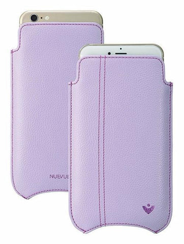 Vegan Genuine Leather 'Self Cleaning Technology' iPhone 8 Plus / 7 Plus Sugar Purple pouch case.
