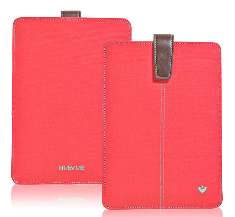 Apple iPad Sleeve Cover Case in Coral Pink Canvas | Screen Cleaning and protective antimicrobial lining